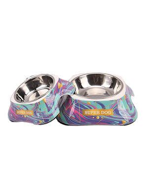Blue Super Dog Design Feeding Bowl