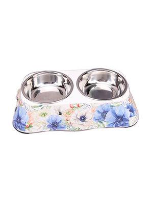 Blue Flower Double Feeding Bowls