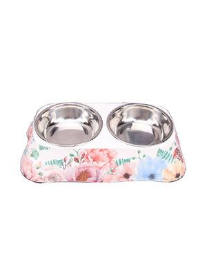 White Flower Double Feeding Bowls
