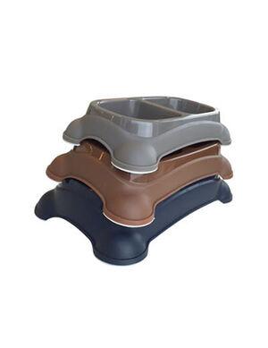 M-Pets Plastic Double Bowl Brown 650ml