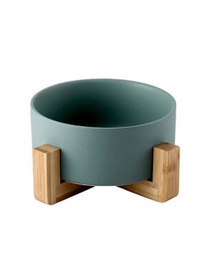 Ceramic Feeder With Wooden Stand