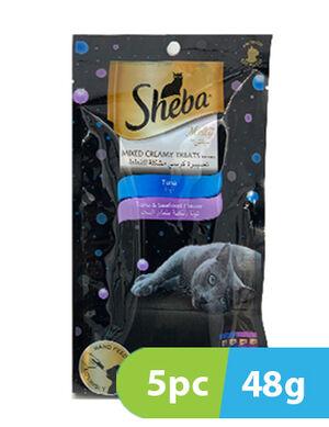 Sheba Creamy Treat Cat Food Tuna and Tuna & Seafood Flavour 5 pack x 48gm