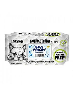 AbsorbPlus Antibacterial Pet Wipes Baby Powder 80pc