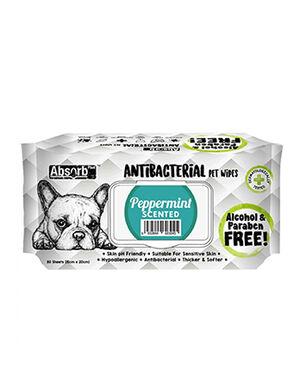AbsorbPlus Antibacterial Pet Wipes Peppermint 80pc