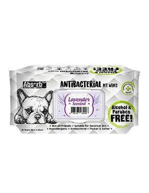 AbsorbPlus Antibacterial Pet Wipes Lavender 80pc