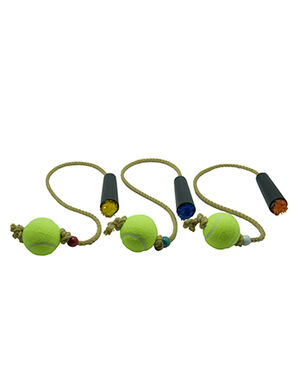 Pet Craft Tennis Ball with Rope Blue