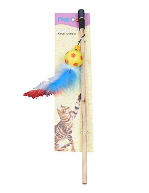 Pet Craft Toy Wand with Feathers Yellow