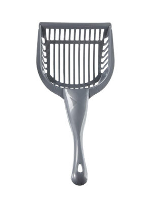 Aloe Care Plastic Cat Litter Scoop and Sifter with Hanger Hole Grey