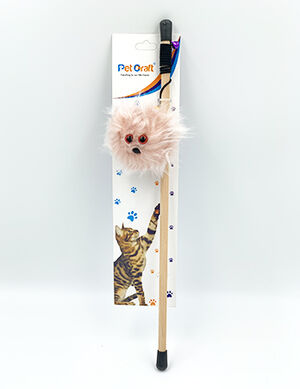 Pet Craft Fluffy Pink Toy Wand With Catnip