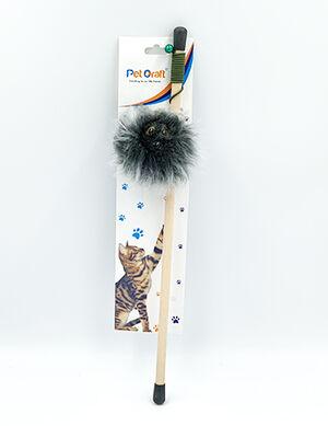 Pet Craft Fluffy Grey Toy Wand With Catnip