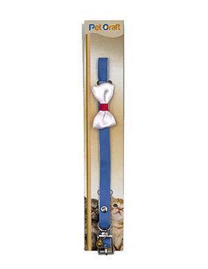 Pet Craft Blue Collar with White Bowtie