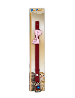 Pet Craft Red Collar with Pink Bowtie