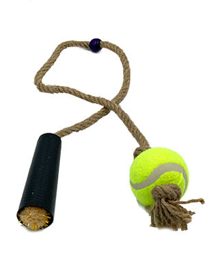 Pet Craft Tennis Ball with Rope Beige