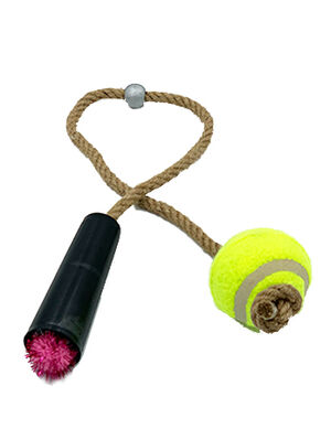 Pet Craft Tennis Ball with Rope Pink