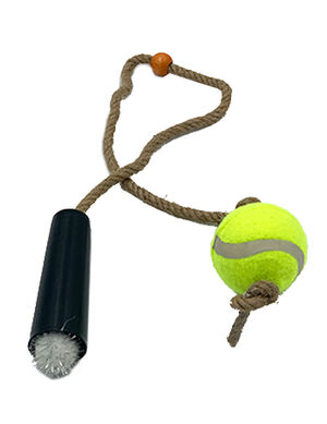 Pet Craft Tennis Ball with Rope White