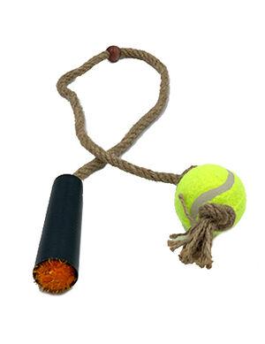 Pet Craft Tennis Ball with Rope Orange