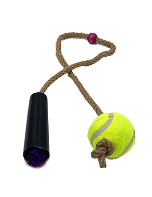 Pet Craft Tennis Ball with Rope Purple