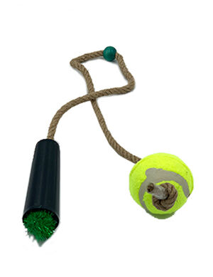 Pet Craft Tennis Ball with Rope Green