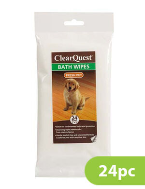 PetEdge Cq Bath Wipes Bag Baby Powder Small 24 pc