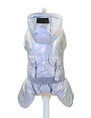 Silver Pet Winter Jacket with Back Pockets Small