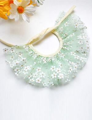 Green Flower Lace Bandana/Bib Large