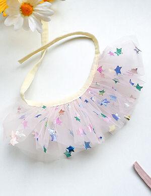 Pink Star Lace Bandana/Bib Large
