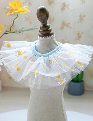 White Flower Lace Bandana/Bib Large