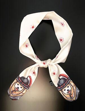 Off White Dog Print Silk Collar Free Size