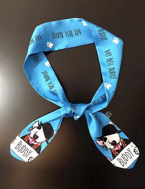 Blue Dog Print Silk Bandana Free Size