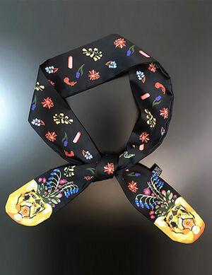 Black Printed Silk Collar Bandana Free Size