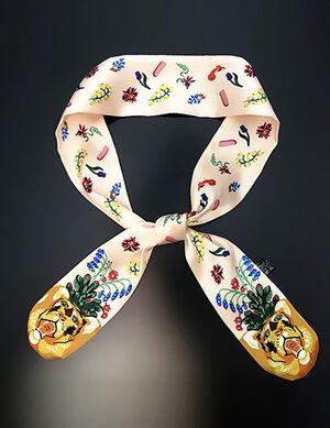 Beige Printed Silk Collar Bandana Free Size
