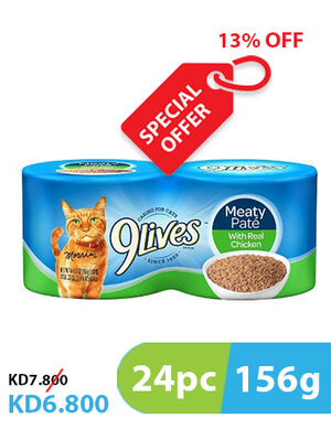 13% 9Lives Meaty Pate Chicken 24pc x 156g