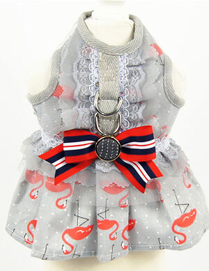 Grey Flamingo Bow Dress with Leash Large