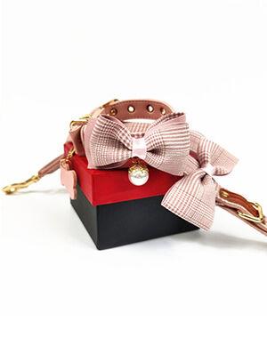 Pink Stripped Bow Collar & Leash Set Medium