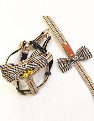 Brown Striped Bow Harness & Leash Medium