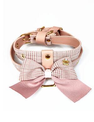 Pink Striped Bow Harness & Leash Medium