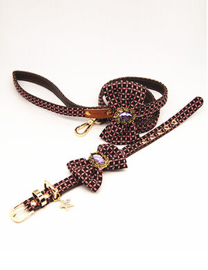 Pink Striped Bow Collar & Leash Set Medium