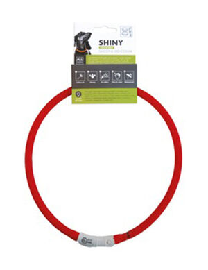 M-Pets Shiny Adjustable Silicon Led Collar Red