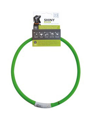 M-Pets Shiny Adjustable Silicon Led Collar Green