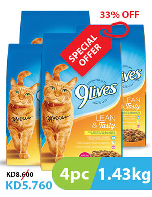 33% 9Lives Lean And Tasty 4pc x 1.43 kg